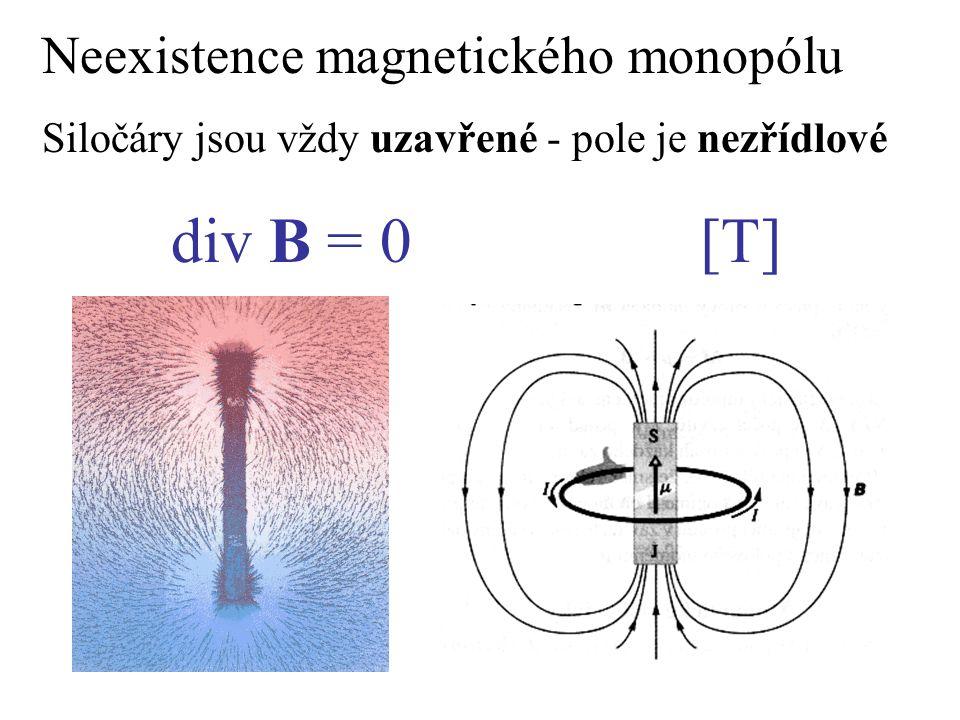 div B = 0 [T] Neexistence magnetického monopólu